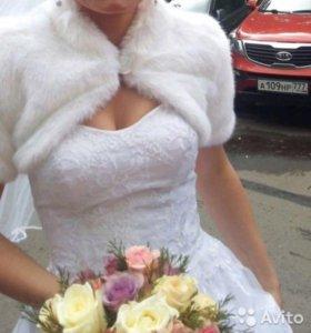 Накидка, полушубка свадебная, легкая, новая