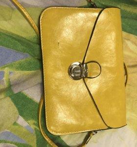 Сумка женская желтая новая на длинной лямочке