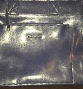 Кожаная сумка новая! Темно синего цвета