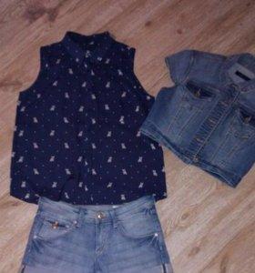 Рубашка без рукавов , джинсовый жилет