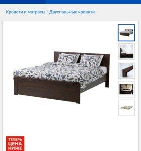 Кровать двуспальная Брусали Икеа