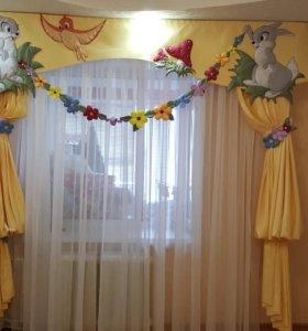 Шторы (ламбрекен+шторы+тюль) в детскую комнату