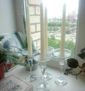 Подсвечники на свадьбу+свечи. Декор свадьбы