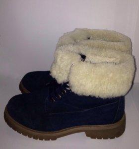 Зимние ботинки замшевые с натуральным мехом