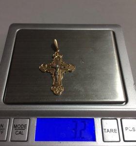 Крест золото 585 пробы вес 3,2 грамм