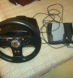 Игровые руль и педали Logitech без штекеров