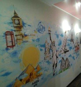 Роспись стен и гаражных ворот
