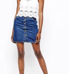 Синяя джинс. мини-юбка в стиле 70-х River island