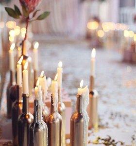 Бутылки-подсвечники, декор, свадьба