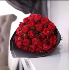 21 пионовидная роза, 50 см