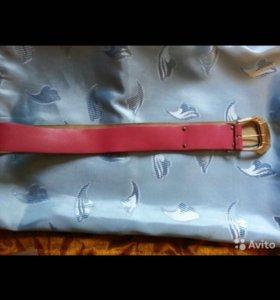 Ремень кожа розовый широкий