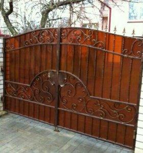 Ворота из поликарбоната, ковка