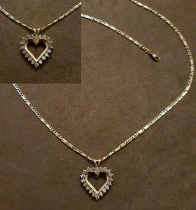 Золотой кулон с бриллиантами на цепочке. Обмен