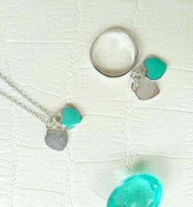 Подвеска мятные сердечки в стиле Tiffany (серебро