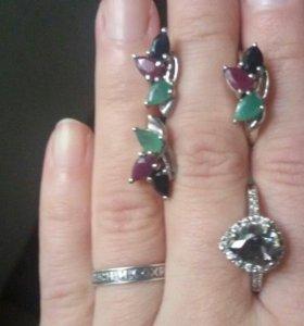 Новые серьги с кольцом и кольцо, серебро