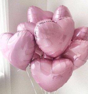 Сердца розовые фольга