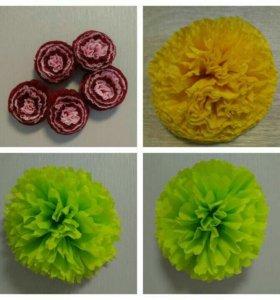 Изготовление помпонов и цветов из бумаги