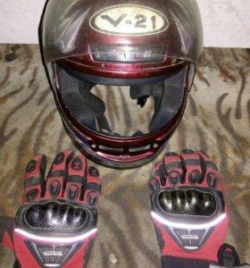 Шлем и Мото Перчатки(Новые)