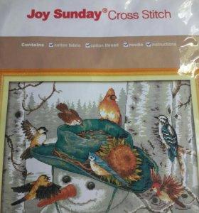 Набор для вышивания снеговик с птицами