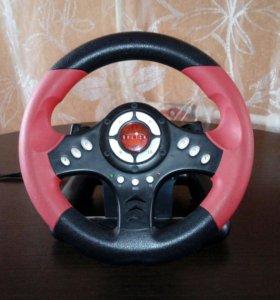 Игровой компьютерный руль с педалями.