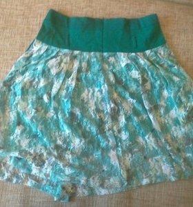 Продам летнюю нарядную бирюзовую юбку