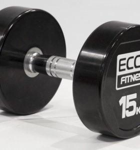 Гантель ECOS Fitness PU 15кг