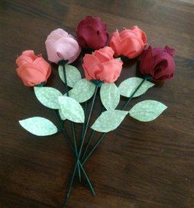 Текстильные розы. Ручная работа