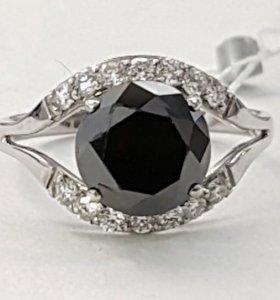 Золотое кольцо с черным бриллиантом