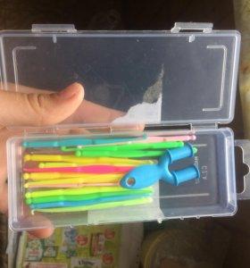Крючки, станок и застежки для плетения из резинок