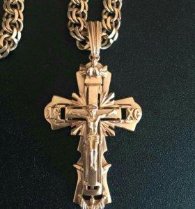 Золото - Крест и цепь 50грамм