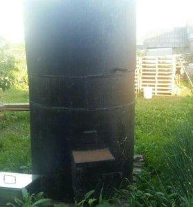 Печь для бани с встроенным баком для воды