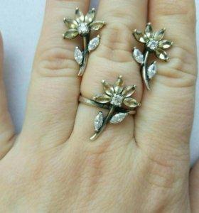 Серьги и кольцо фианит