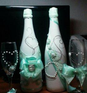 Свадебный набор (быки и бокалы)