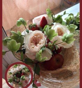 Букеты из цветов, фруктов и других вкусностей