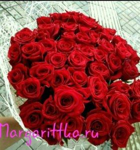 Букет роз, 51 роза, букет цветов, цветы