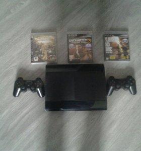 PS3 super slim + 2 геймпада + 3 игры