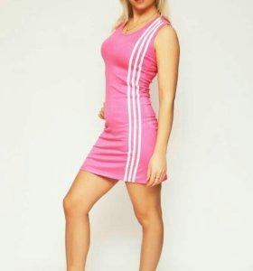 Платье белое-розовые полосы