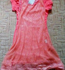 Платье-туника+накидка сетка