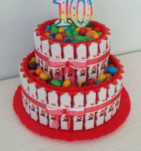 Торт из киндеров и конфет для детей на праздник