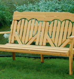 Садовые и интерьерные скамьи и стулья из дерева