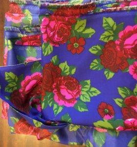 Ткань шелк отрез СССР синий с розами