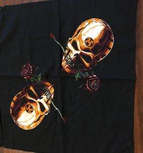 Платок шейный новый череп с розой
