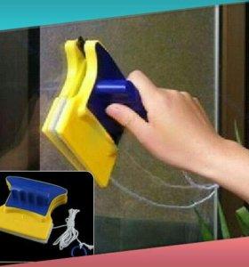 Магнитная щетка для мытья окон с 2х сторон