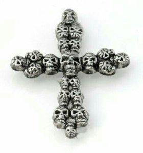 Заклепки на одежду крест из черепов