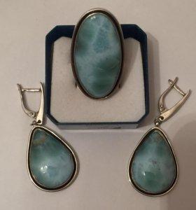 Комплект серебро 925 и ларимар