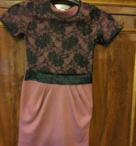 Платье новое Have Kids розовое с гипюром