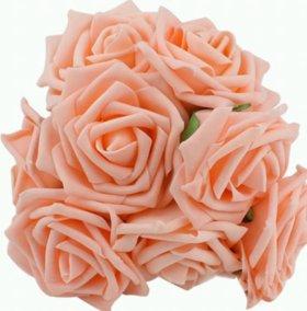 Розы на проволоке из фоамирана 8 см для декора