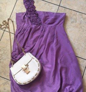 Лиловое дизайнерское платье из натурального шелка