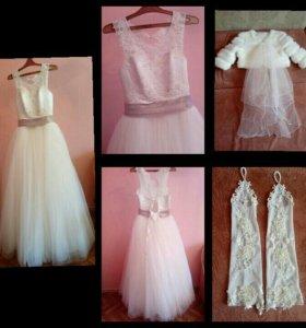 Свадебное платье+перчатки, шуба, подъюбник