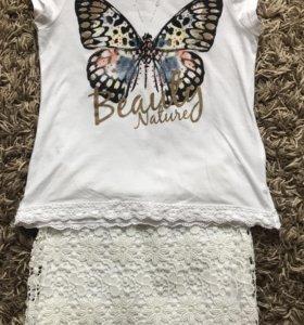 Детские юбка и футболка р.134